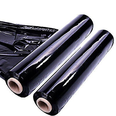 2 Strong Rolls Black Pallet Shrink Stretch Wrap Cast Cling Film Parcel Packing