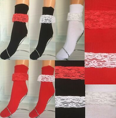 Ladies, Girls, Lace Frill Cotton Ankle Bobby Socks