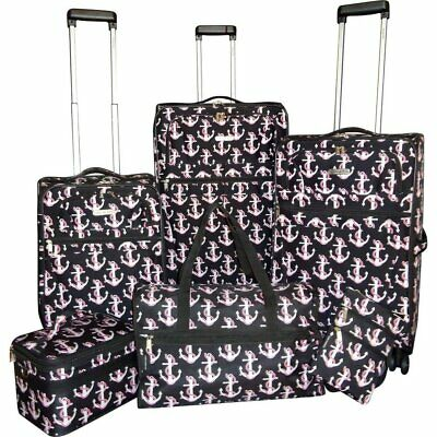 """Karriage-Mate Anchor 6-piece Expandable Spinner Luggage Set Black 28"""" 24"""" 20"""""""