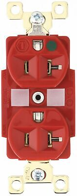 Bryant 20,  Heavy Use Hospital Grade,  Receptacle,  Red,  No Tamper Resistant