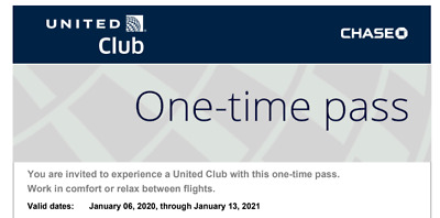 Two (2) United Airlines Club Lounge One-Time Passes Expires Jan 13, 2021