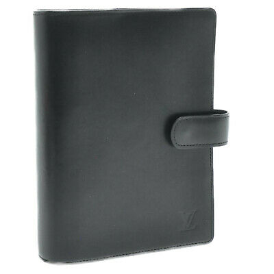 LOUIS VUITTON Nomade Leather Agenda MM Day Planner Cover Black LV Auth 9682
