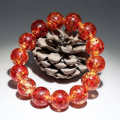 Collectable China Old Amber Hand-Carved Smooth Texture Delicate Unique Bracelet