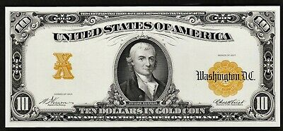 Face of 1907 $10 Gold Certificate Proof Print by the BEP