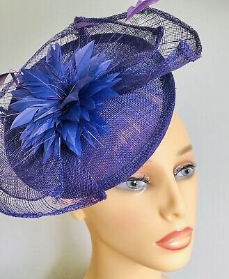Ladies Purple Saucer Disc Fascinator. Large Feathers. Alice Band Wedding Church
