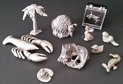Eclectic Group of 10 Miniature Pewter Figures