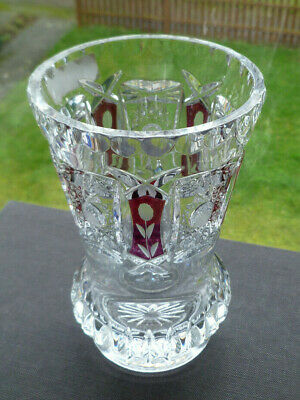 Vintage Czech Bohemian Hand Cut Crystal Vase With Cut To Clear Panels Labelled