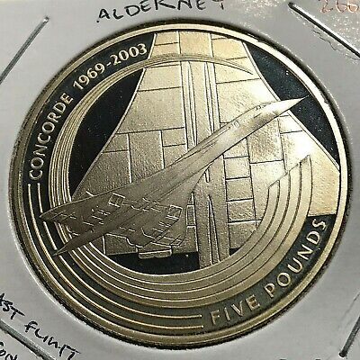 2003 Alderney Silver Proof 5 Pounds Last Flight Of Concorde Scarce Crown