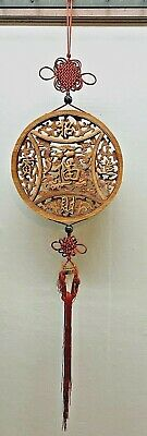 """Old Carved Wood Chinese Hanging Good Luck Screen Statue Knotted 10"""" Diameter"""