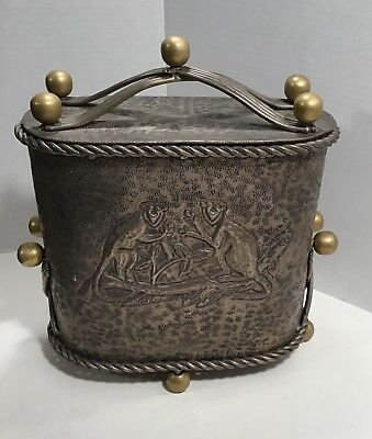"""Ornate Bronze Box Embossed Monkey Images In Molded Relief Large Heavy """"Antique"""""""