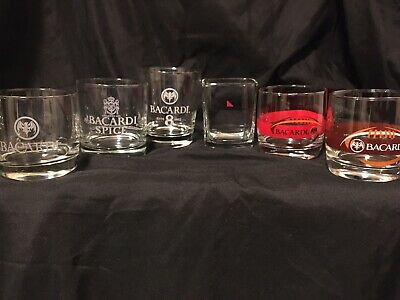 6 Different Bacardi Rum Low Ball Rocks glasses  EE