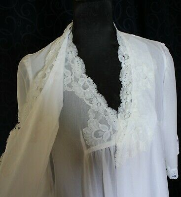 vintage bridal WHITE retro long negligee brunch coat set nightie gown lace 100cm