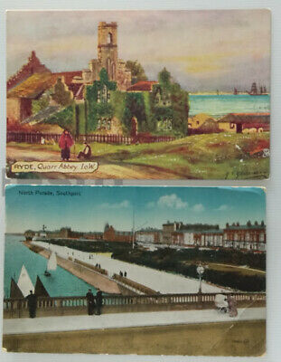 2 postcards antique tucks ryde quarr abbey and southport north parade