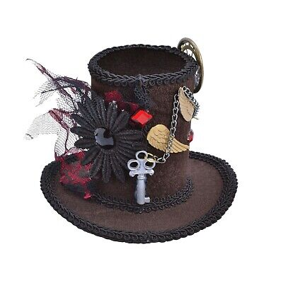 Steampunk Mini Tall Top Hat with Hair Clip Fancy Dress Themed Party