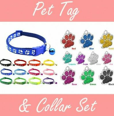 Personalised Engraved Glitter Paw Print Tag and Collar Dog Cat Pet ID Tags