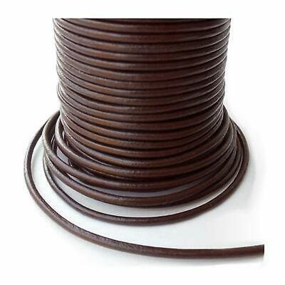 10m roll leather cord round - Ø 3 mm - brown