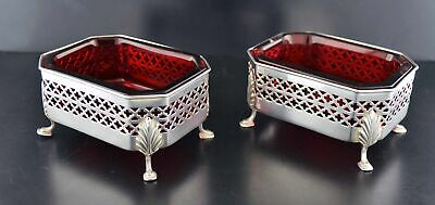 1899 Gorham For Foster & Co Sterling Silver Footed Cranberry Glass Salt Cellars