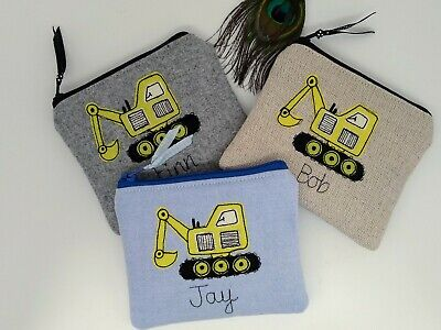 Handmade Personalised Digger Purse Pouch Wallet Name & Design Choice Boys gift