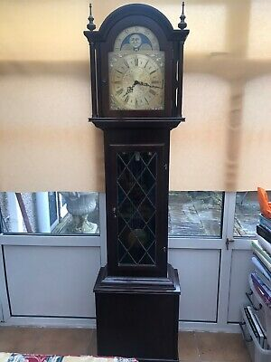 Mahogany Grandfather Clock, Stained Glass, Gold Face Clock
