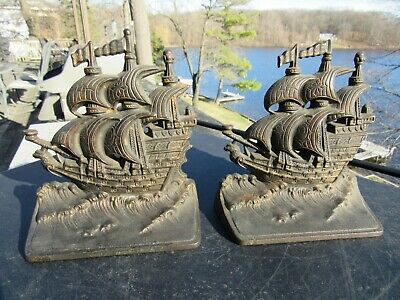 ANTIQUE 1920's CAST IRON ARTS AND CRAFTS / MISSION STYLE TALL SHIPS BOOK ENDS