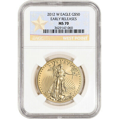 2012-W American Gold Eagle Burnished 1 oz $50 NGC MS70 Early Releases WP Star