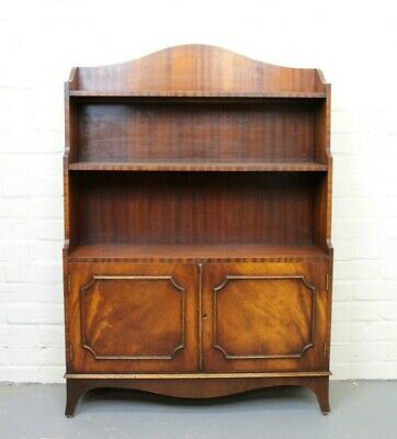 Antique Georgian Style Mahogany Open Front Waterfall Bookcase & Cupboard