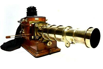 Victorian magic lantern, mahogany/brass, W Hughes and Sons, London