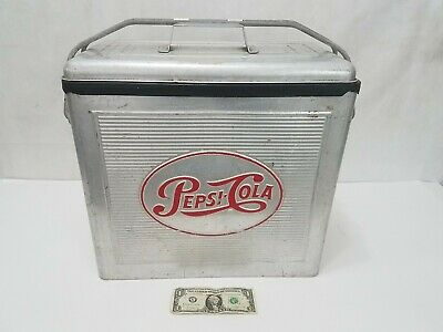 Pepsi Cola Vintage 1950's Metal Aluminum Drink Cooler Ice Chest Retro Silver