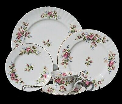 "Royal Albert ""Moss Rose"" Pink Floral  5 - Piece Place Setting Plates Cup Saucer"