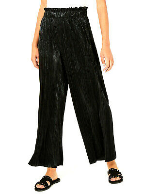 Be Bop Juniors' Black Pleated Metallic Pants Size Medium REG $49