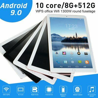 10.1 Inch Bluetooth Android 9.0 Tablet 8+512GB Phablet PC Dual Camera GPS WiFi