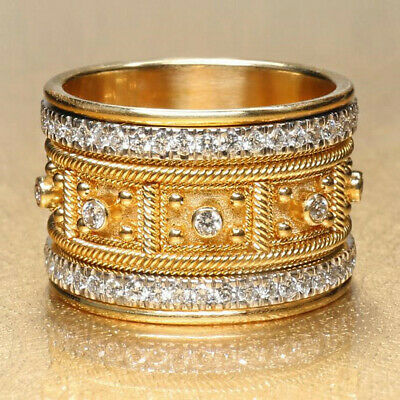 Gorgeous Women Wedding Ring 18k Yellow Gold Plated White Sapphire Size 6-10