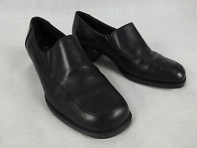 Portland Size 8 Shoes Black Leather Low Block Heel Loafers Work Comfort Casual