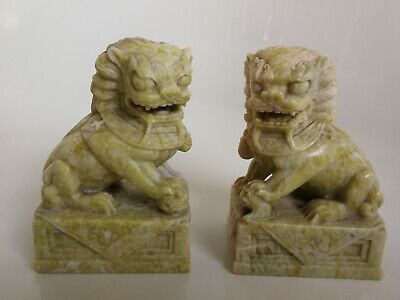 Stunning Pair of antique/vintage soapstone Chinese Foo dogs in rare colour.