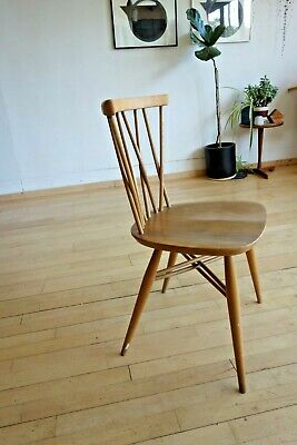 Ercol Windsor Candlestick Dining Chair (376) Light Finish Mid Century elm table