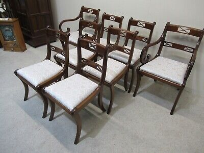 Set Of 8 Regency Design Mahogany Dining Chairs Inc 2 Carvers Super Quality