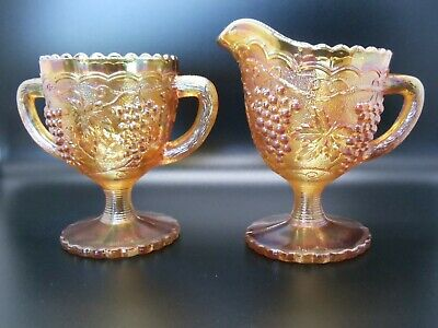 Vintage Marigold Carnival Cream & Sugar by Imperial Glass Co in Grape & Cable