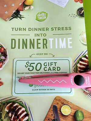 Hello Fresh $50 Gift Card, $25 off 1st 2 deliveries, plus free shipping