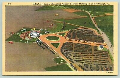 Pittsburgh PA~Allegheny Co Municipal Airport~Airplane View~Mckeesport~1935 Linen