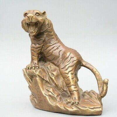 Collectable China Old Bronze Hand-Carved Fierce Tiger Delicate Decorate Statue