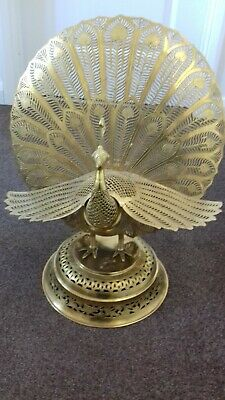 Vintage Antique Collectable Retro Brass Centrepiece Large Stunning Peacock
