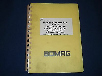 Bomag Bw 213 A Ad D Pd Roller Operation & Maintenance Book Manual