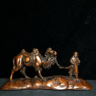 Collectable Decorative Boxwood Carved Desert Camel & Old Man Exquisite Statue