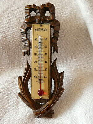 Elegant Antique French Wood Carved Owl Thermometer Louis Xvi Style