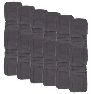 Charcoal Bamboo Inserts with Gussets,Cloth Diaper Liner,5-Layer Inserts,Reu L6H4