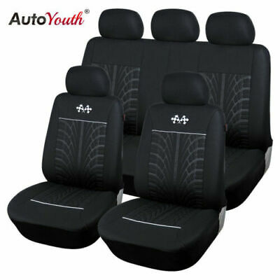 Car Seat Protector Car Interior Decoration Full Set of Front + Rear Black