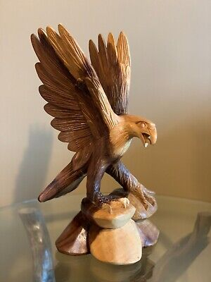 Bald Eagle Hand Carved Wood Sculpture Artwork, Vintage Home Decor