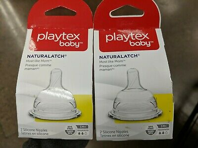 Playtex Baby Naturalatch Fast Flow Silicone Nipples 3-6 Months 2 Pk
