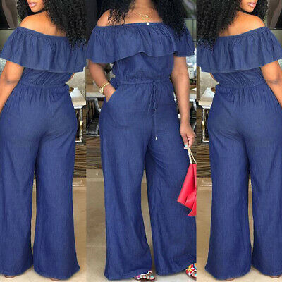 USA Women's Casual Bodycon Jumpsuit Jeans Denim Rompers Overalls Trousers Pants