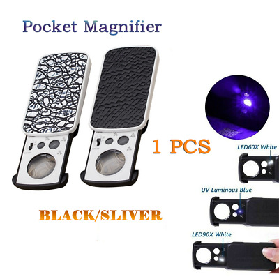 Magnifying 30X 60X 90X LED Jewelry Identification Sliding Style High Quality SCA